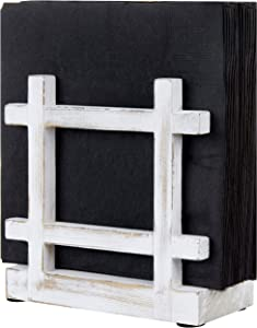 MyGift Shabby Whitewashed Wood Upright Table Napkin Holder for Kitchen, Picnics, Parties, Café and Home