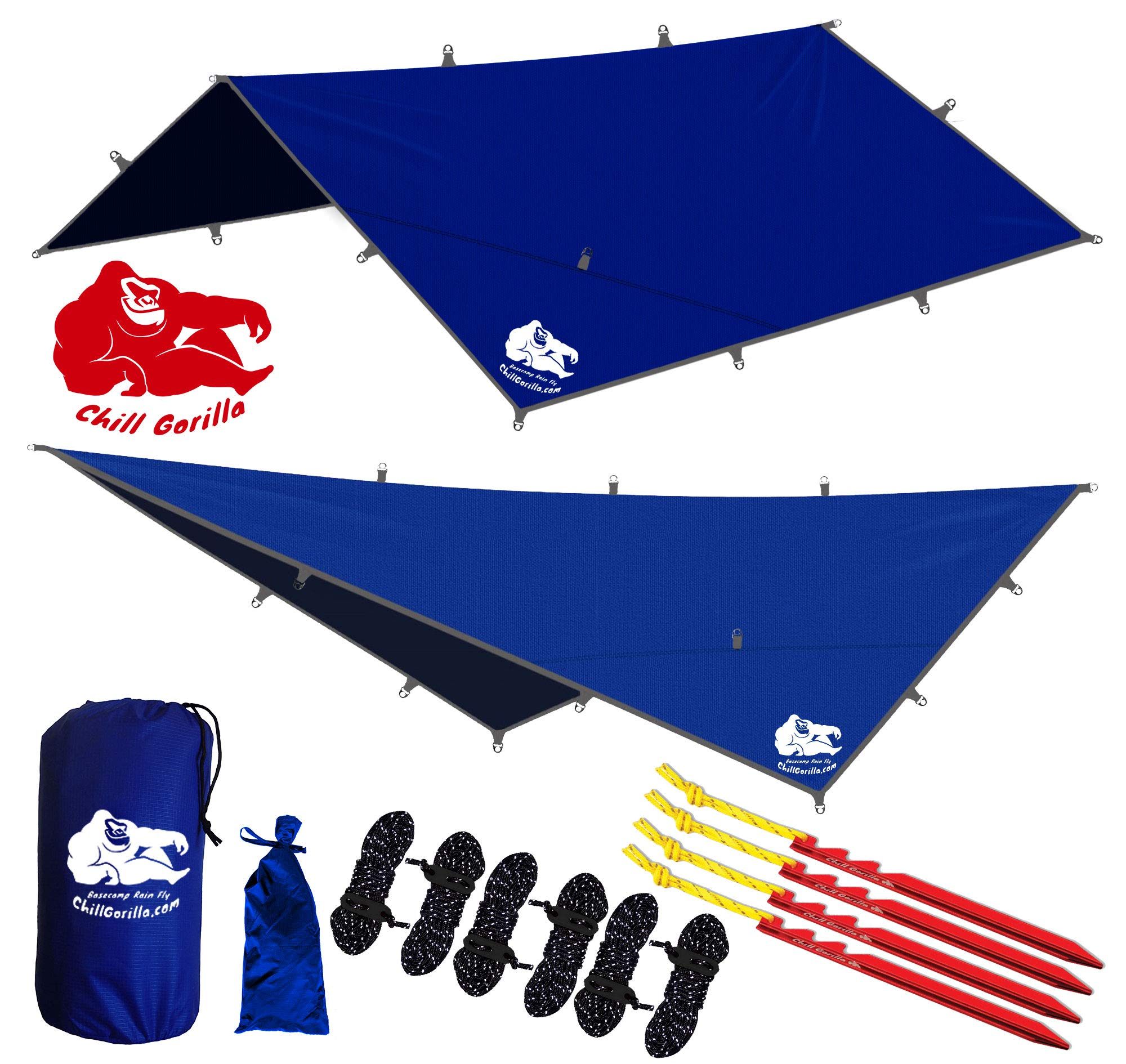 Chill Gorilla 12x12 Hammock Rain Fly Camping Tarp. Ripstop Nylon. 203'' Centerline. Stakes, Ropes & Tensioners Included. Camping Gear & Accessories. Perfect Hammock Tent. Blue by Chill Gorilla