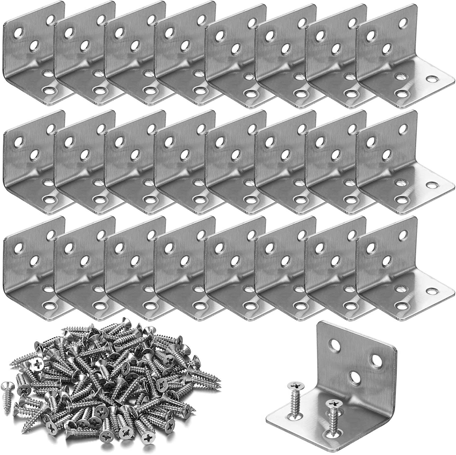 """24 PCS Stainless Steel L Corner Brackets Heavy Duty Corner Braces 1.2"""" x 1.2"""" x 1.5"""", 6 Hole 90 Degree Joint Right Angle L Shape Bracket for Wood Cabinets Furniture"""