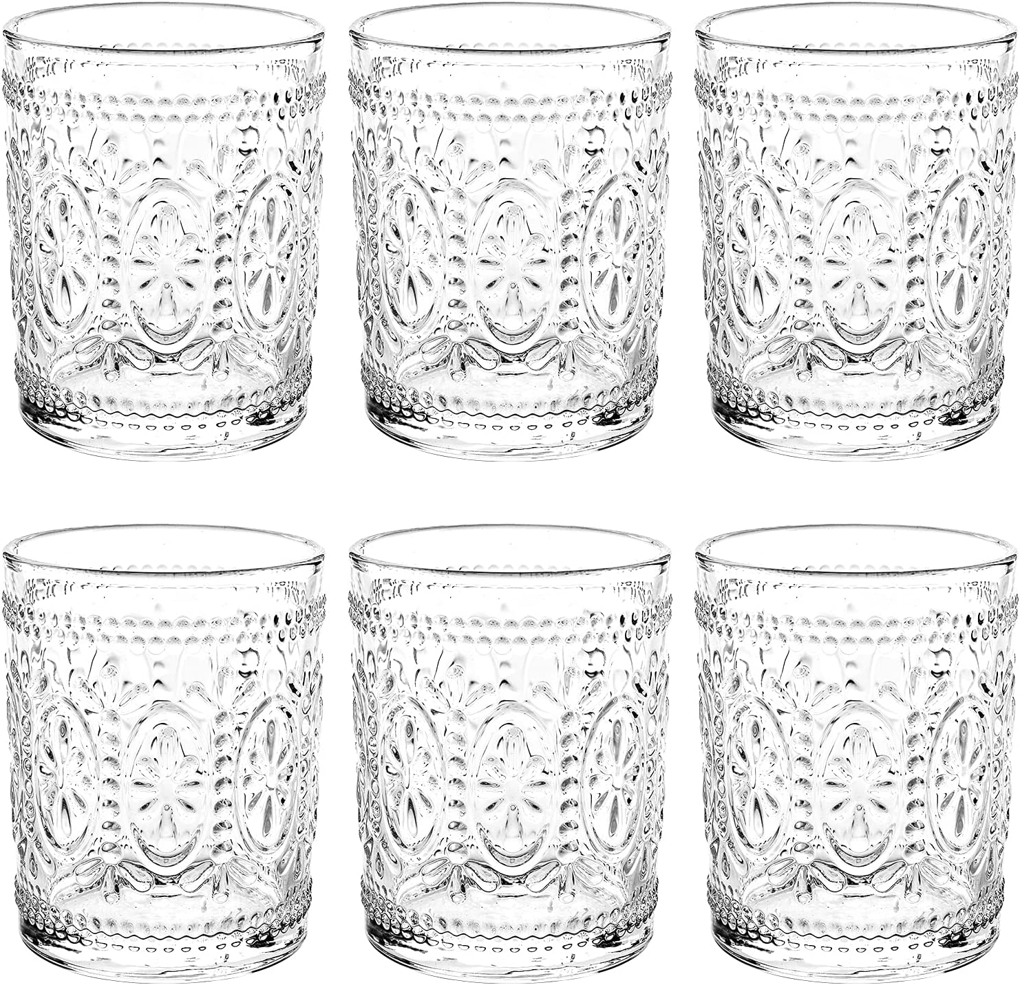 Bekith 6 Pack Drinking Glasses, 9.5 oz Romantic Water Glasses Tumblers, Heavy Duty Vintage Glassware Set for Whisky,Juice, Beverages, Beer, Cocktail