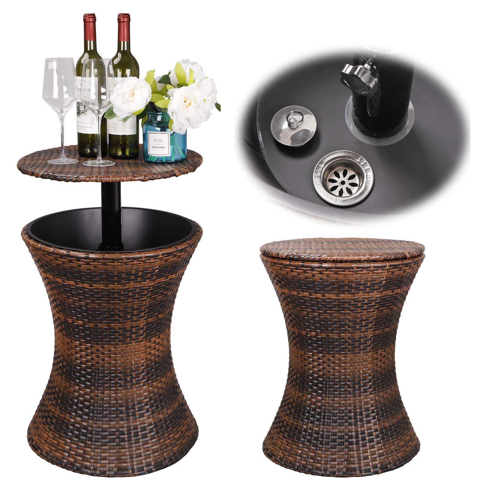 ZENY 5.5 Gallon Cool Bar Rattan Style Patio Pool Cooler Table W/Height Adjustable Top Outdoor Wicker Ice Bucket Cocktail Coffee Table for Party Deck Pool Use, Brown by ZENY (Image #2)