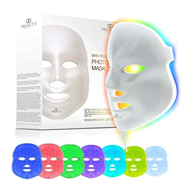 Amazon Com Project E Beauty Led Face Mask Light Therapy 7 Color Skin Rejuvenation Therapy Led Photon Mask Light Facial Skin Care Anti Aging Skin Tightening Wrinkles Toning Mask Beauty