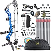 "Xgeek Compound Bow Package for Adults Right Handed with Hunting Accessories,19-30"" Draw Length,15-70Lbs Draw Weight (Red, Blue, Camo, Black)"