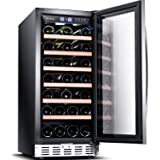 """Sinoartizan ST-33S 15"""" Wide 33 Bottle Single Zone Red, White, Champagne Wine Cooler/Built-in or Freestanding Wine Refrigerator with Energy Efficient & Quiet Compressor"""