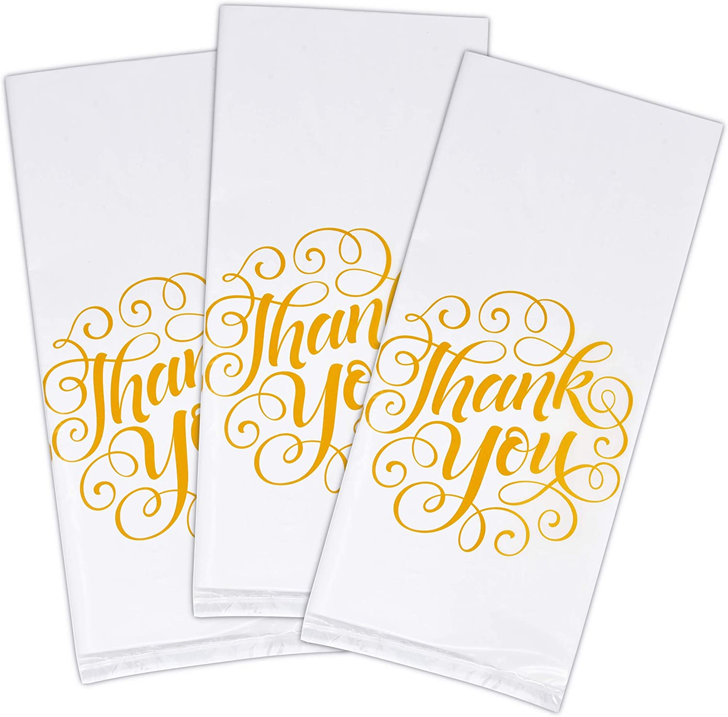 100 Thank You Cellophane Bags Wedding Plastic Treat Favor Bag White with Gold Anniversary Baby Shower /& Birthday Party Supplies Decorations for Adults Teens Kids Candy Goody Grab Bag by Gift Boutique