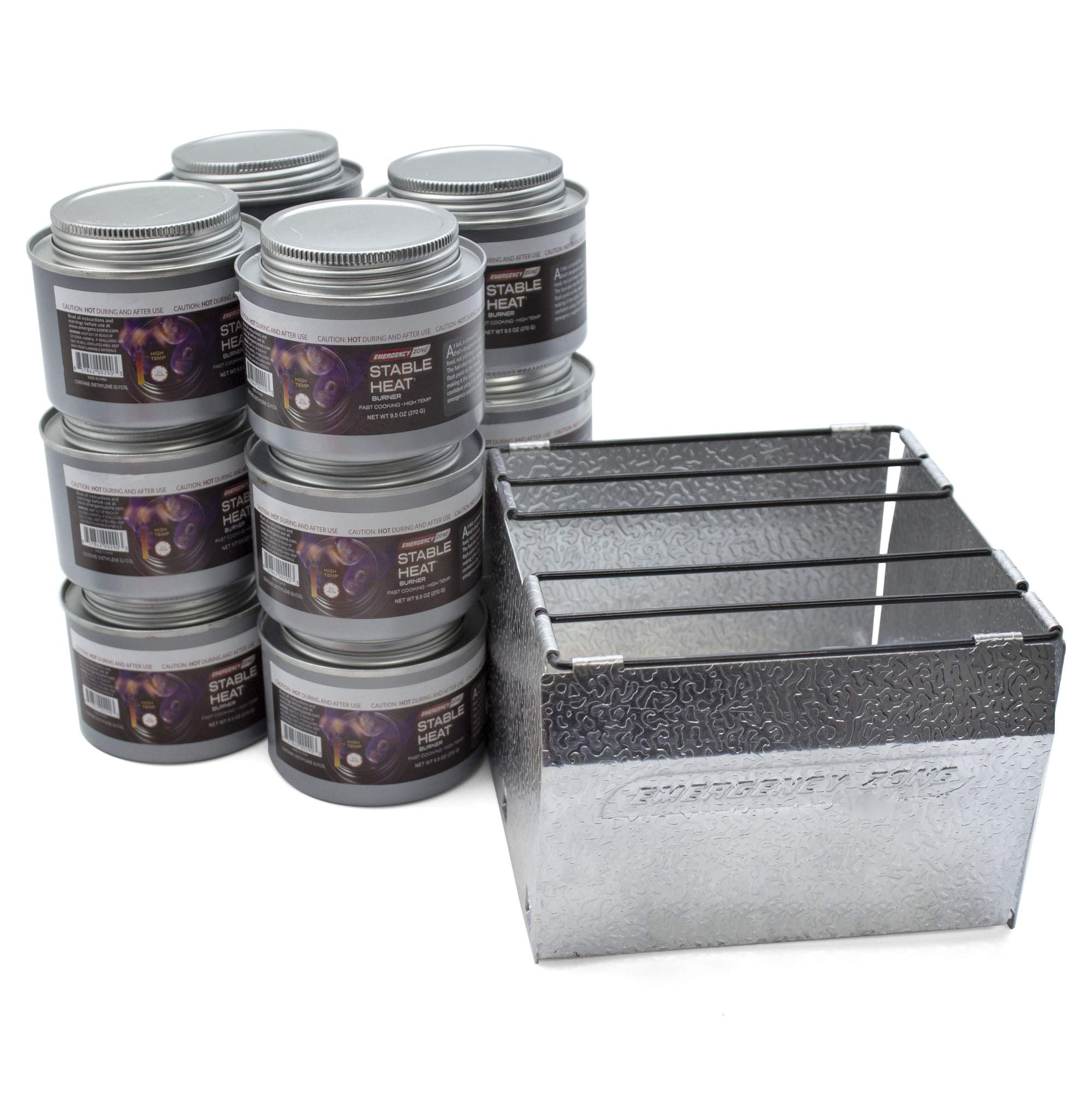 Emergency Cooking Fuel Storage Set with Stove, 20+ Year Shelf Life. 12 Fuel Cans Pack by Emergency Zone