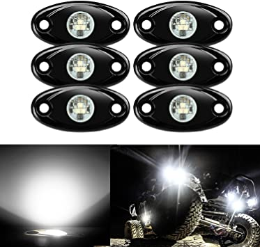 6x Amber 9W Led Rock Light Under Car Neon Glow Underbody For Boat Jeep Wrangler