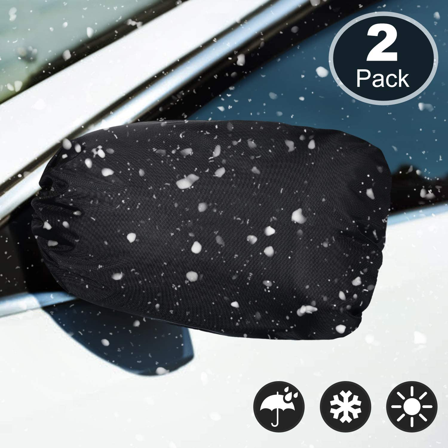 2 Pieces Side View Mirror Cover Frost Guard Mirror Cover Auto Rearview Protection Cover Snow Ice Mirror Covers Exterior Rear View Accessories Universal Size for Cars Black