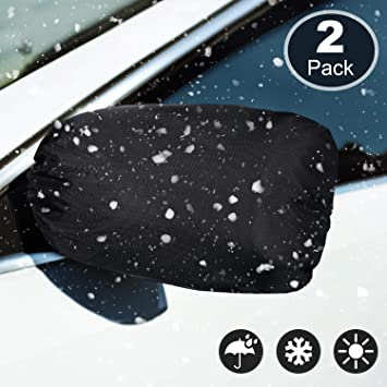 Black Side View Mirror Cover Frost Guard Mirror Cover Auto Rearview Protection Cover Snow Ice Mirror Covers Exterior Rear View Accessories Universal Size for Cars 4 Packs