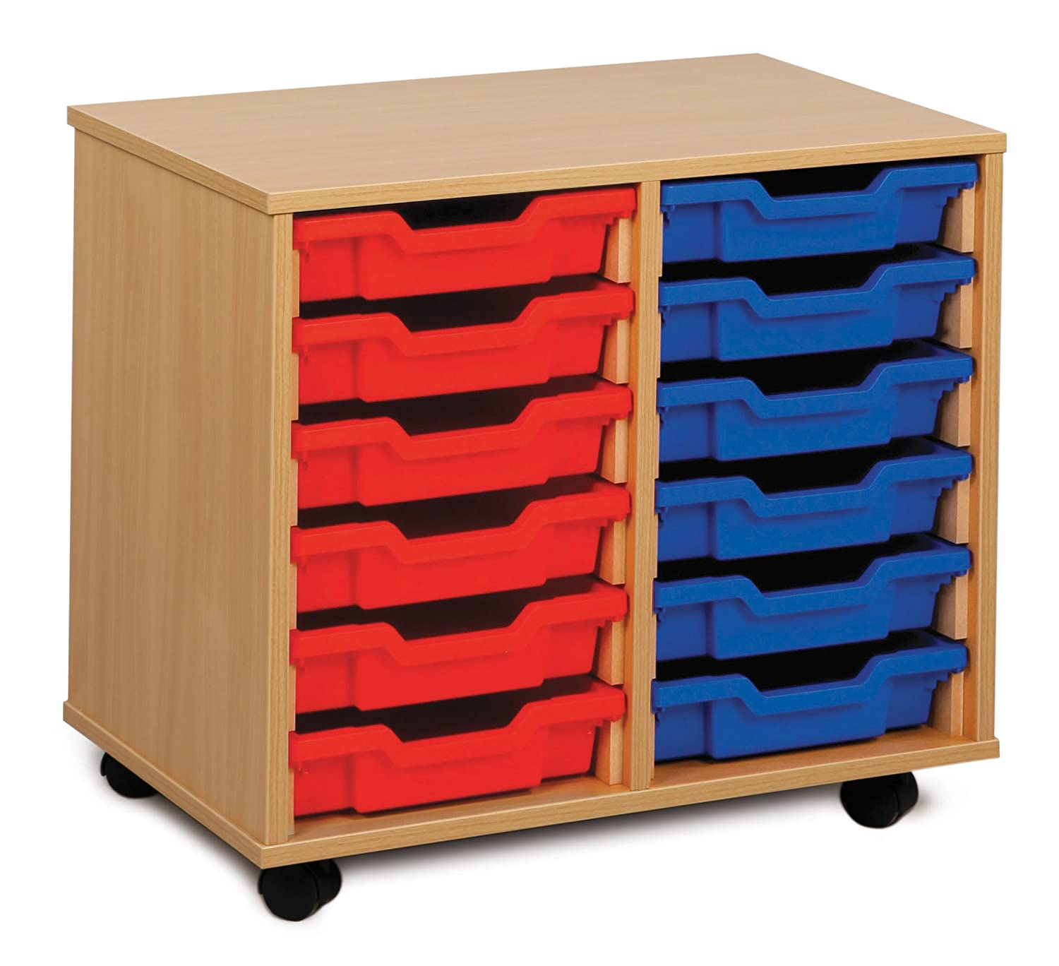 Monarch Mobile School Shallow Tray Storage Unit 12 Coloured Trays Beech MEQ2W-COL Office Needs Direct
