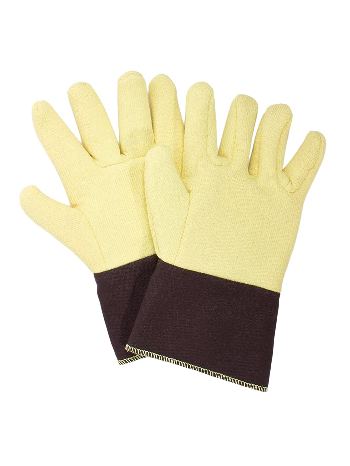 National Safety Apparel G43RTRF01012 Reversed Kevlar Terry Glove with FR Duck Cuff, Large, Yellow by National Safety Apparel Inc