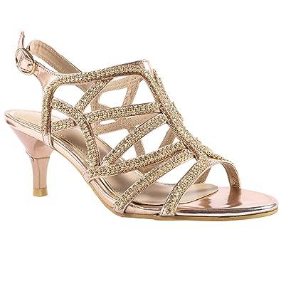 35e291de7bf6a4 Lara s Womens Rhinestone Prom Dress Shoes Wedding Sandals Low Heel Gold ...