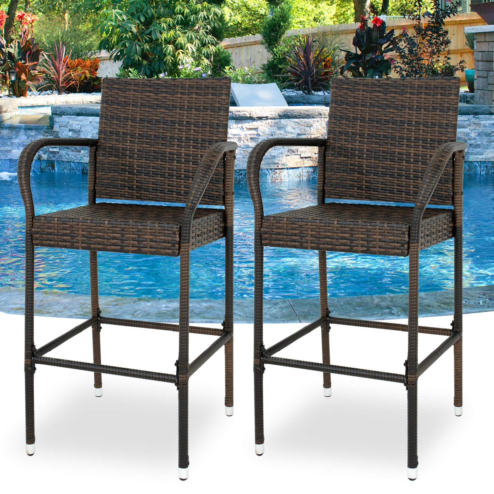SUPER DEAL Upgraded Wicker Bar Stool Chairs Outdoor Backyard Rattan Chair w/Iron Frame, Armrest and Footrest (2) by SUPER DEAL