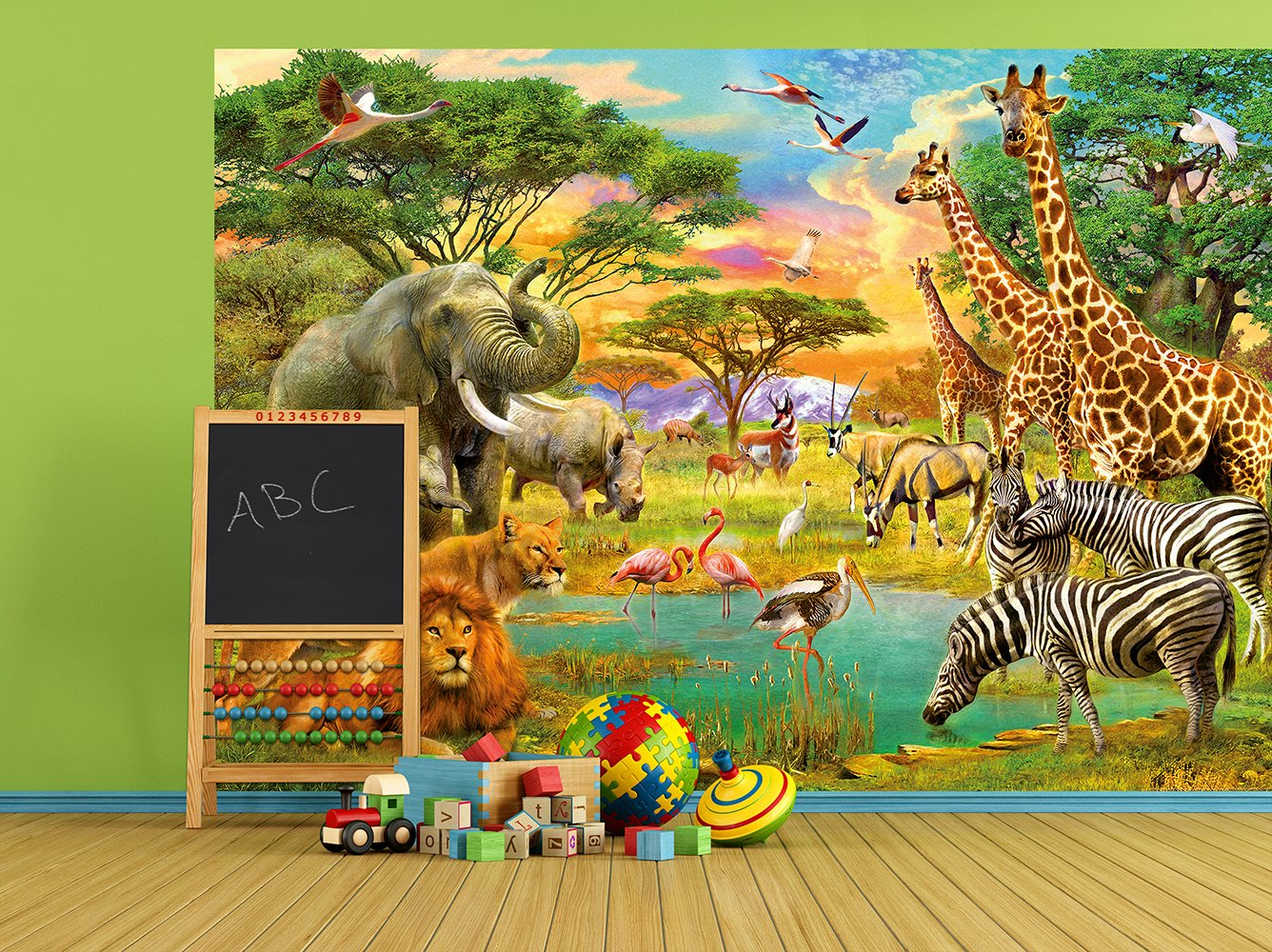 Amazon.com: Wizard & Genius DM154 On Safari Wall Mural: Home Improvement