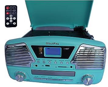 TechPlay - Tocadiscos ODC35 programable de 3 velocidades con ...