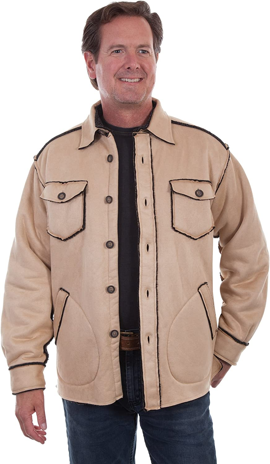Scully Mens New Soft Faux Sherpa Lined Western Cowboy Jacket Shirt Bark