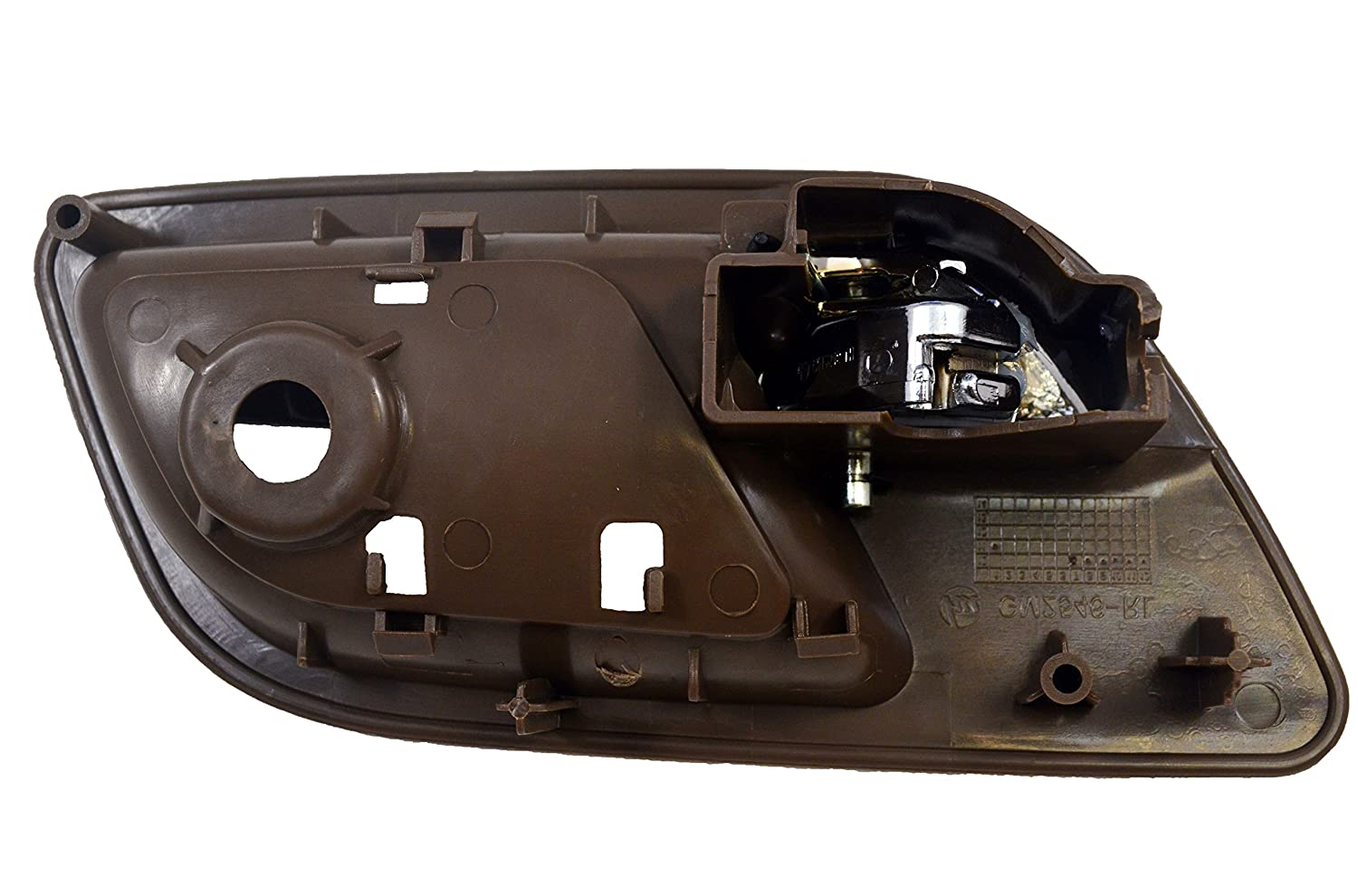 PT Auto Warehouse GM-2546MB-FL Brown Cashmere Inside Interior Inner Door Handle without Hole Driver Side Front Housing with Chrome Lever