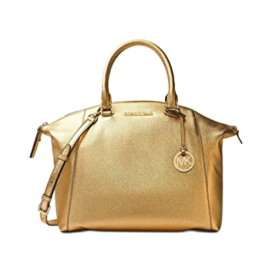 Amazon.com  Michael Kors Womens Riley Large Leather Satchel (Gold)  Shoes 7154062efe3