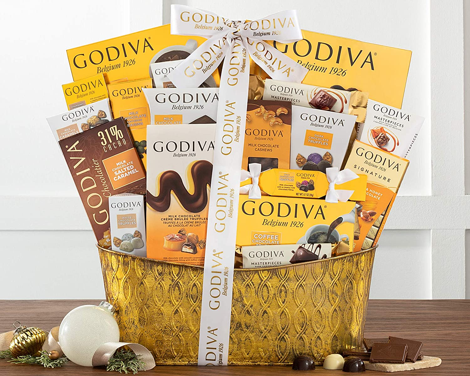 Chocolate Gift Basket- The Godiva Pure Decadence Classic Ribbon Signature Chocolate Gift Basket by Wine Country Gift Baskets