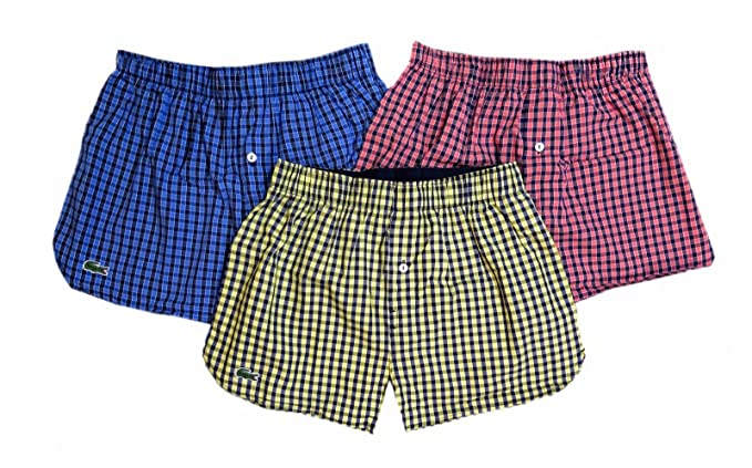 fd7c6f0638 Lacoste Men's Cotton Gingham Blue/Red/Yellow 3-Pack Boxer Briefs at ...