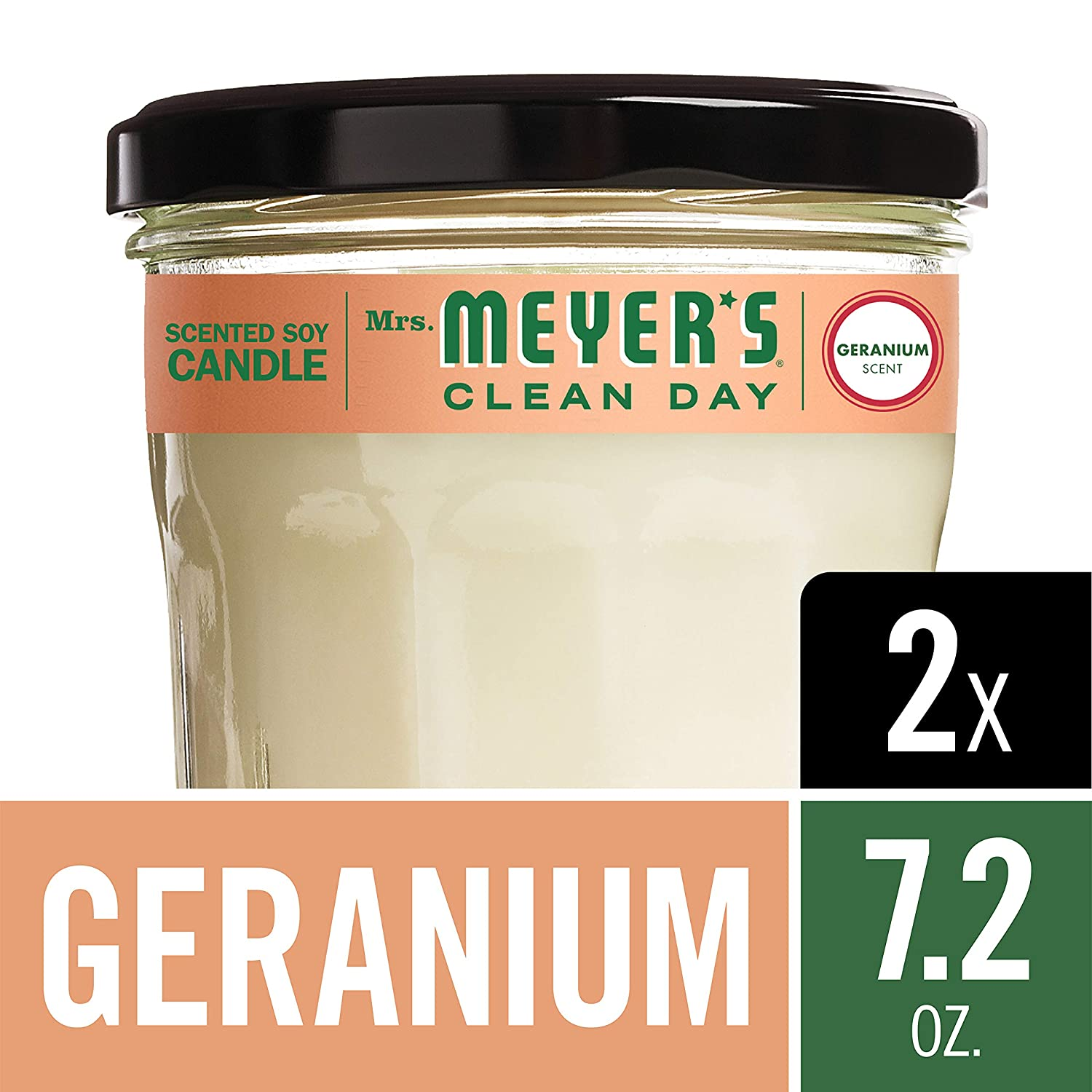 Mrs. Meyer's Clean Day Scented Soy Candle, Large Glass, Geranium, 7.2 oz (2 pack) Mrs. Meyer's Merged H&PC-72433