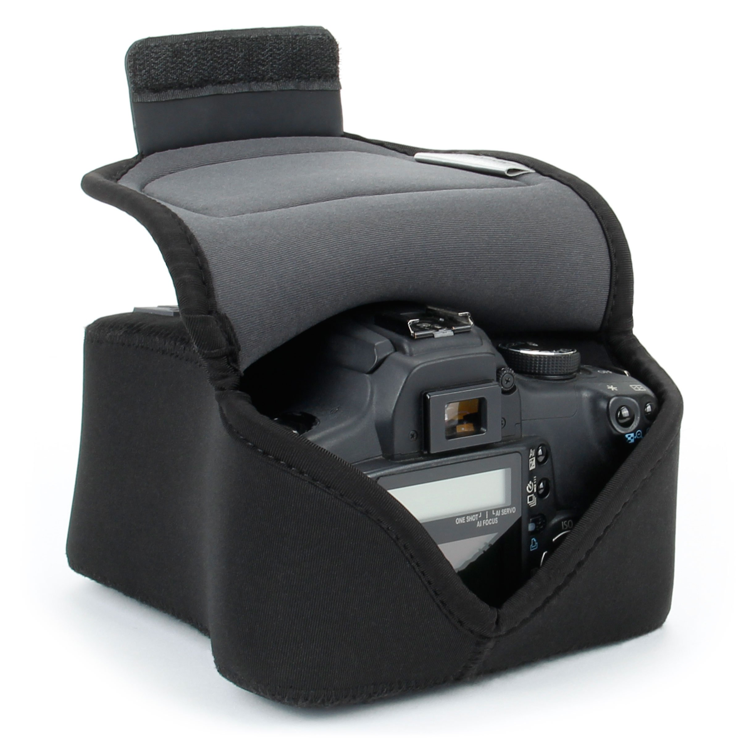 USA Gear DSLR Camera Case/SLR Camera Sleeve (Black) with Neoprene Protection, Holster Belt Loop and Accessory Storage by USA Gear - Works With Nikon D3400/Canon EOS Rebel SL2/Pentax K-70 & Many More