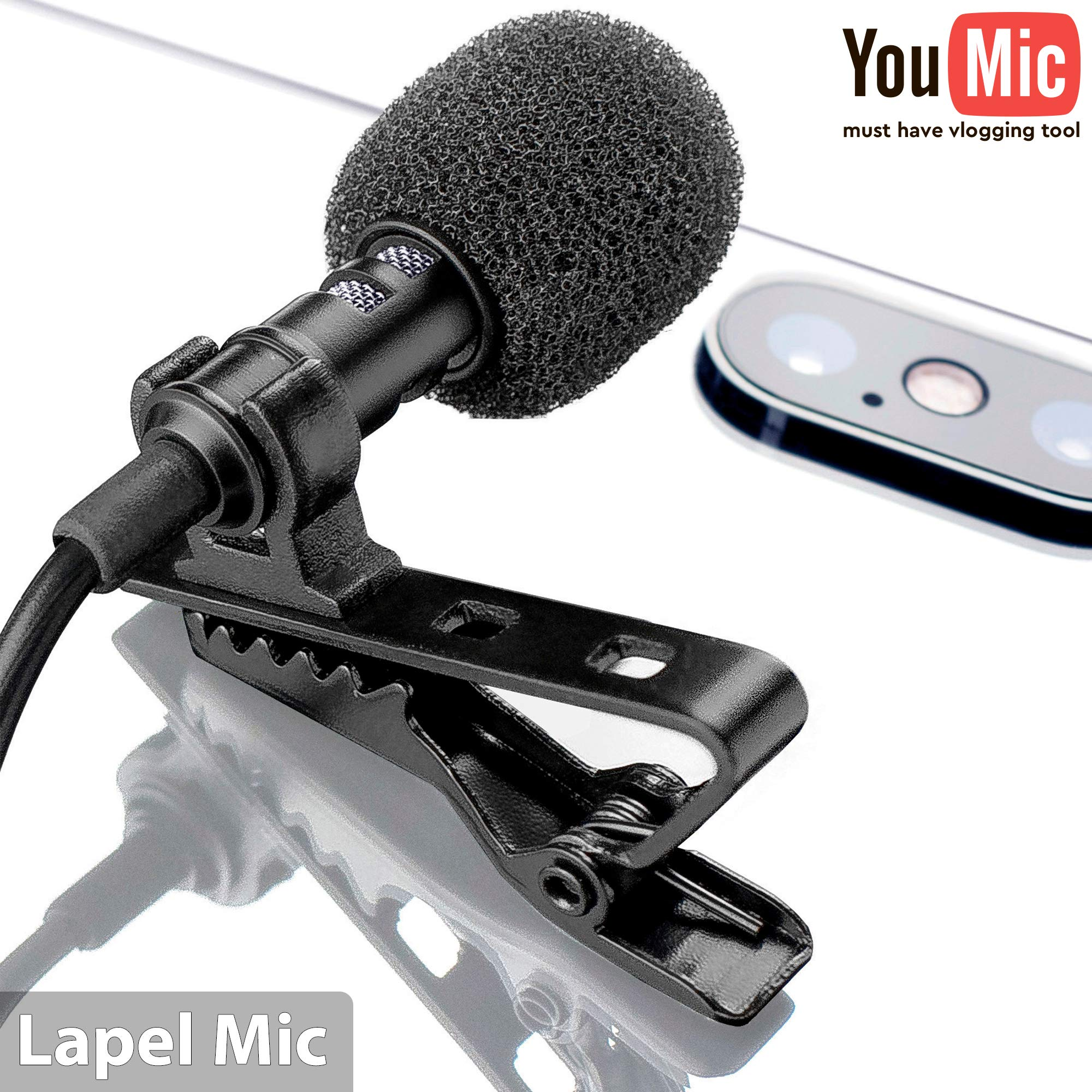 Lavalier Lapel Microphone ?? Omnidirectional Mic with Easy Clip On System ?? Perfect for Recording Youtube / Interview / Video Conference / Podcast / Voice Dictation / iPhone by YouMic