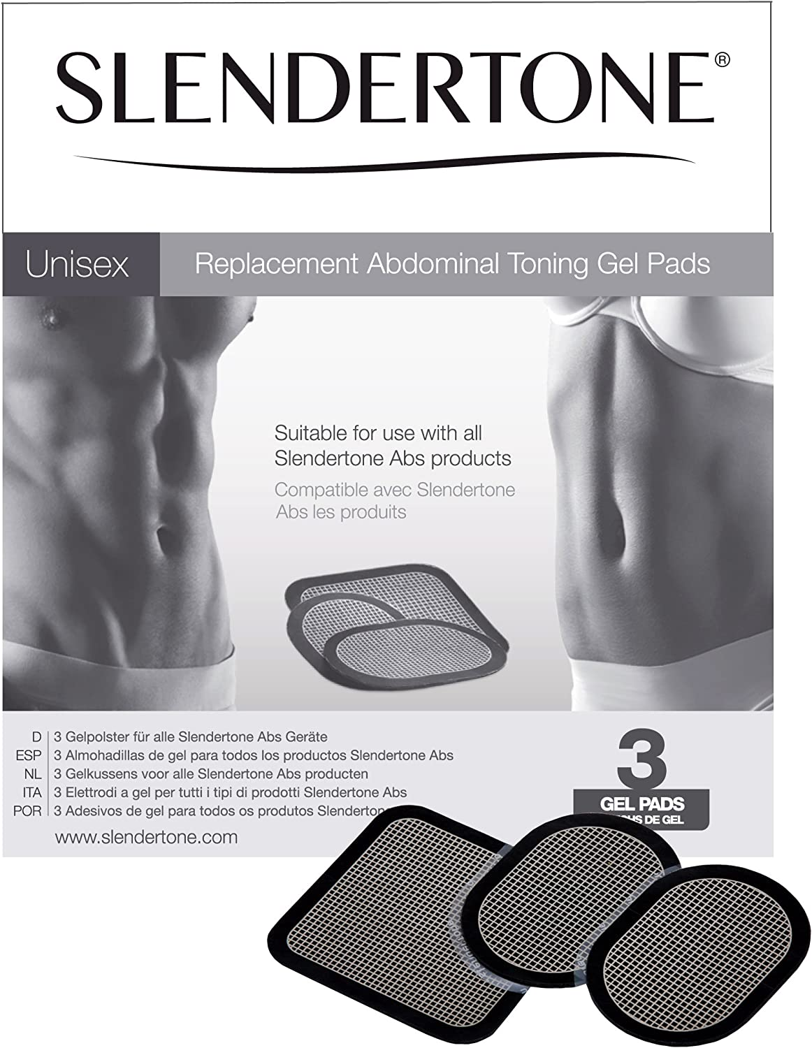 Slendertone Replacement Gel Pads for All Slendertone Abdominal Belts, 1 Set (3 Gel Pads): Sports & Outdoors
