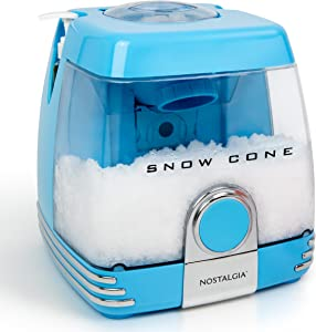 Nostalgia SC7BL Countertop Snow Cone Party Station Makes 30 Icy Treats, Includes 2 Reusable Pump Syrup Bottles, 2 Plastic Cups, Ice -Scoop, Blue