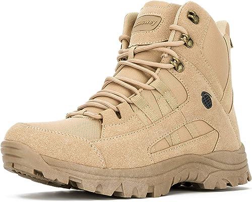 Ansbowey Bottes Hommes Chaussures de Randonn/ée Femmes Tactiques Militaire Combat Boots Exterieur antid/érapantes Bottines avec Fermeture Eclair YKK