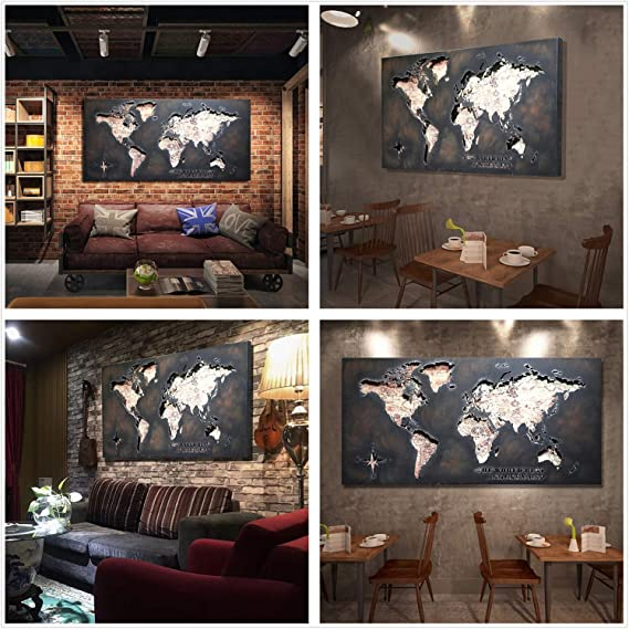 EWADQH Retro LOFT Carte du Monde Creux en Fer forg/é d/écoration Murale en m/étal