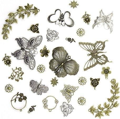 LOT de 7 PENDENTIFS perles breloques ARGENTE PAPILLONS BUTTERFLY création bijoux