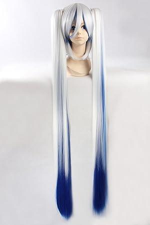 Cosplay peluca blanca azul degradado peluca extra larga Blanco Azul Gradiente peluca Nieve Hatsune Miku VOCALOID