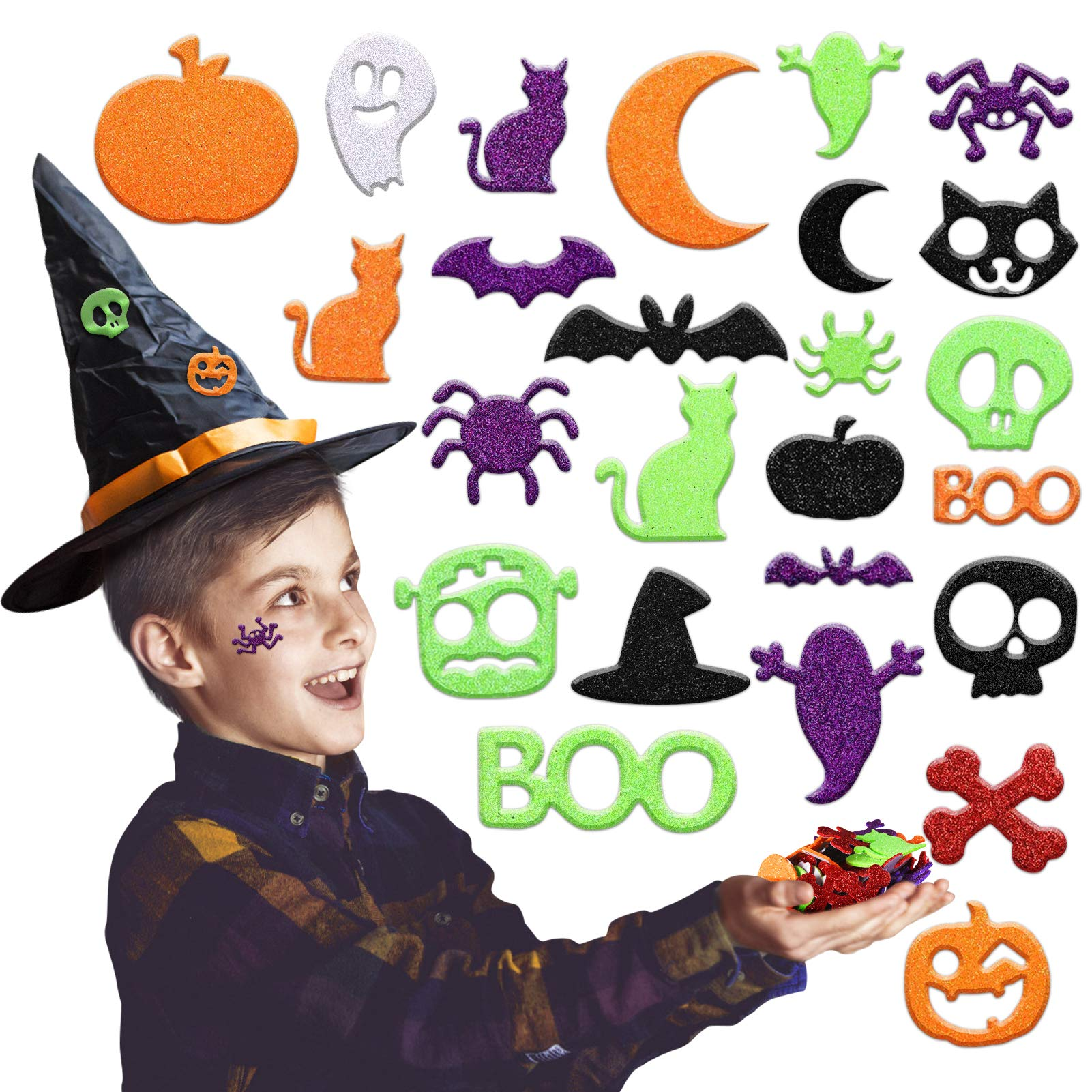 500PCS Glitter Halloween Foam Craft Stickers, Self Adhesive Pumpkin Shape 3D Stickers for Pumpkin Decor, Trick or Treat Bags, Cards, Scrapbook, Kids Craft Projects
