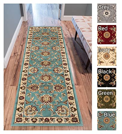 Sultan Sarouk Light Blue Persian Floral Oriental Formal Traditional 3x12 27quot X