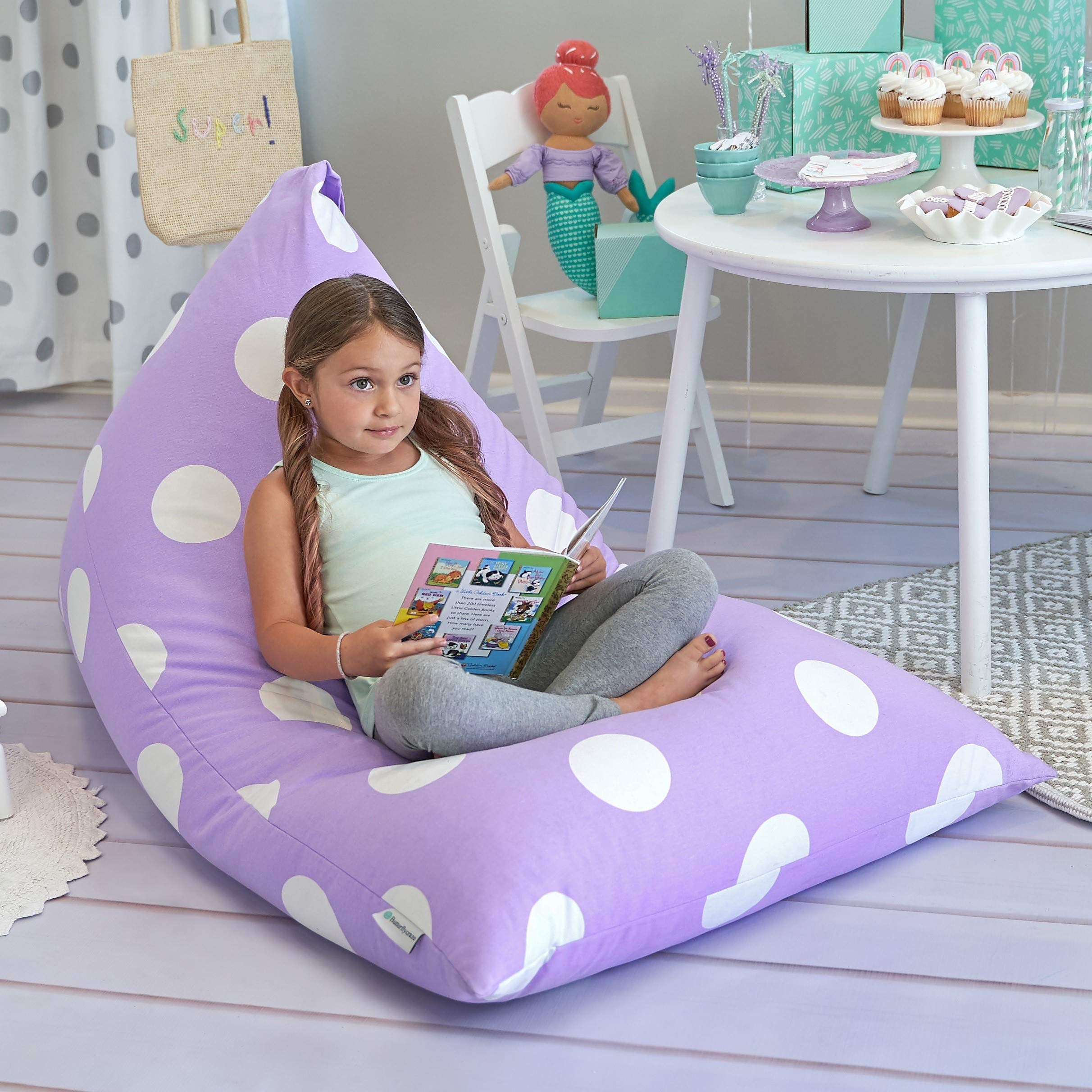 Butterfly Craze Stuffed Animal Storage Bean Bag Chair - Stuff 'n Sit Toy Bag Floor Lounger for Kids, Teens and Adult  Extra Large 200L/52 Gal Capacity  Premium Cotton Canvas (Purple) by Butterfly Craze