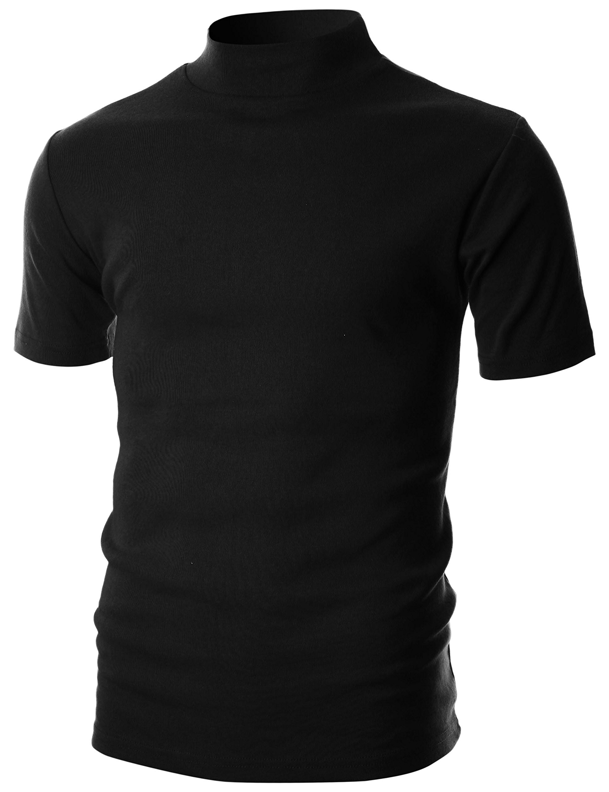 Ohoo Mens Slim Fit Flice Short Sleeve Pullover Lightweight Mockneck/DCT105-BLACK-M
