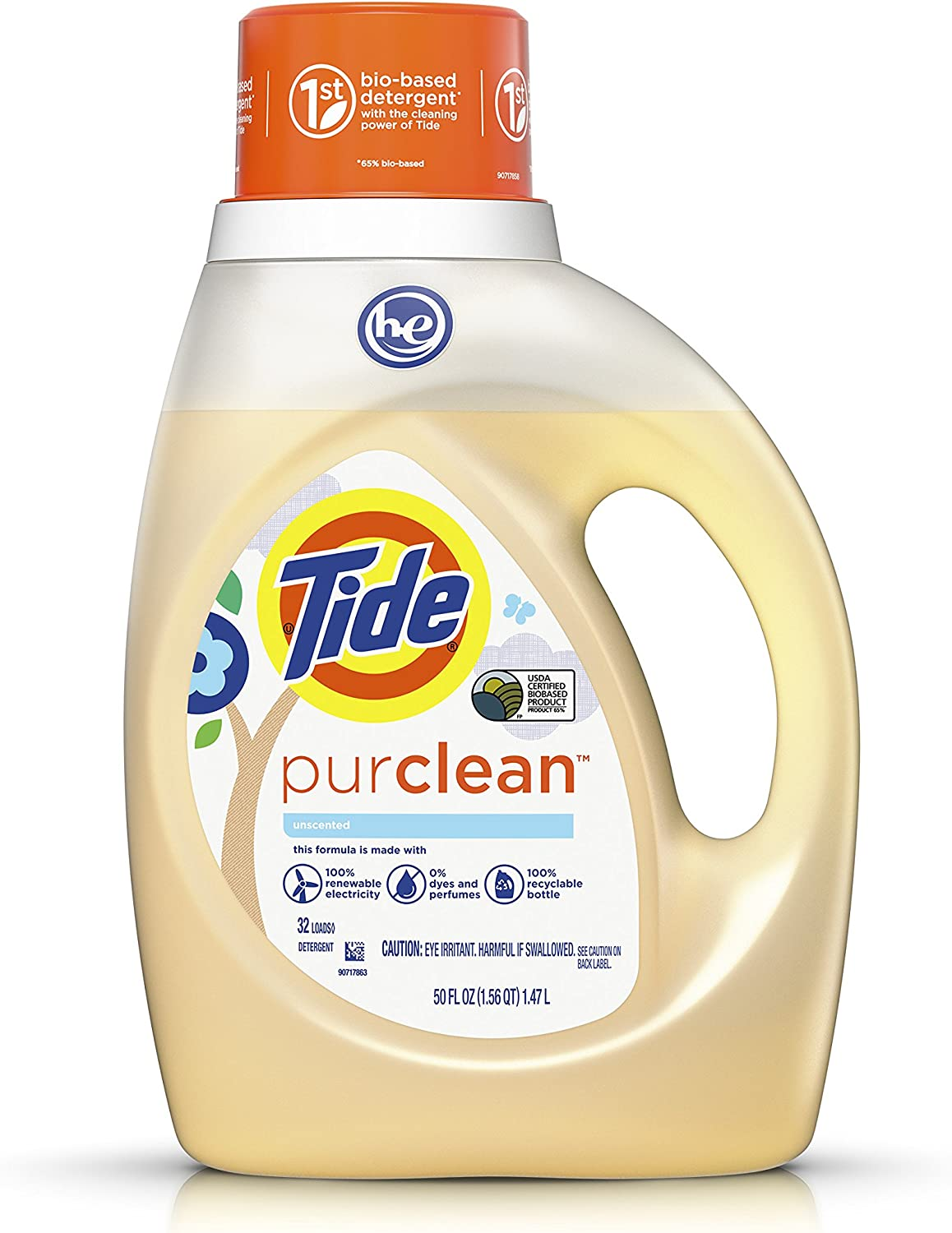 Tide Purclean Liquid Laundry Detergent for Regular and HE Washers, Unscented, 50 Ounce (Packaging May Vary)