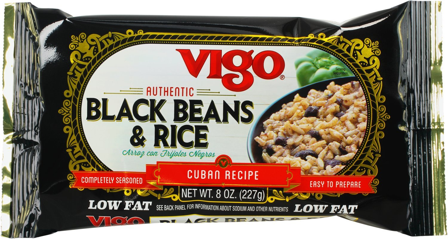 Vigo Rice Mix, 8-Ounce Pouches (Pack of 12) 1 Classic Cuban recipe complete with black beans and spices for a truly authentic flavor. Great as a side dish or served as a complete meal with the addition of your favorite meat or vegetables. Completely seasoned and easy to prepare. Ready in less than 25 minutes!