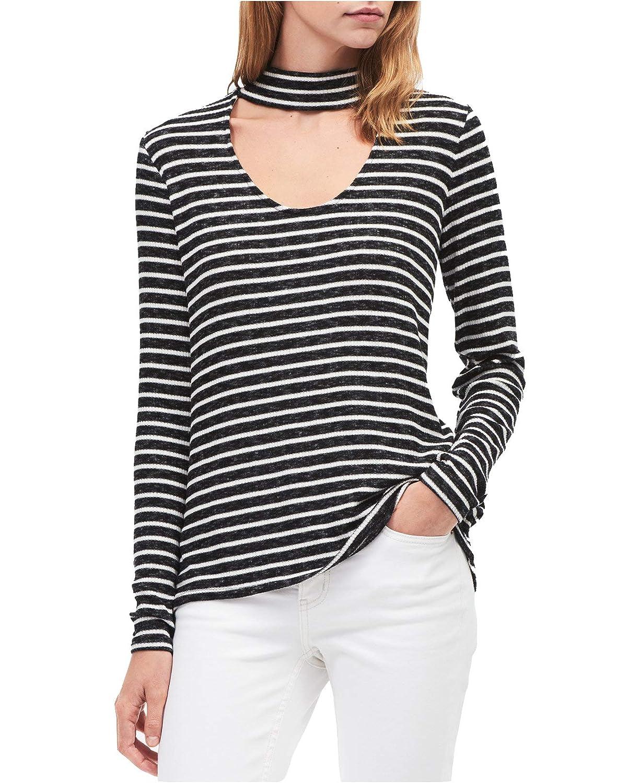 6cd90b9f24b Calvin Klein Jeans Women's Long Sleeve Rib Choker Neck Top at Amazon  Women's Clothing store: