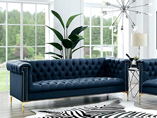 Amazon.com: Oxford Navy Leather Chesterfield Sofa - Gold ...