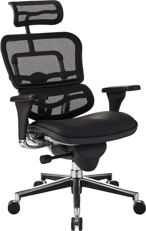 Eurotech Seating Ergohuman High Leather Seat/Mesh Back Swivel Chair, Black