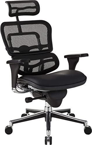 Eurotech Seating Ergohuman High Leather Seat/Mesh Back Swivel Chair