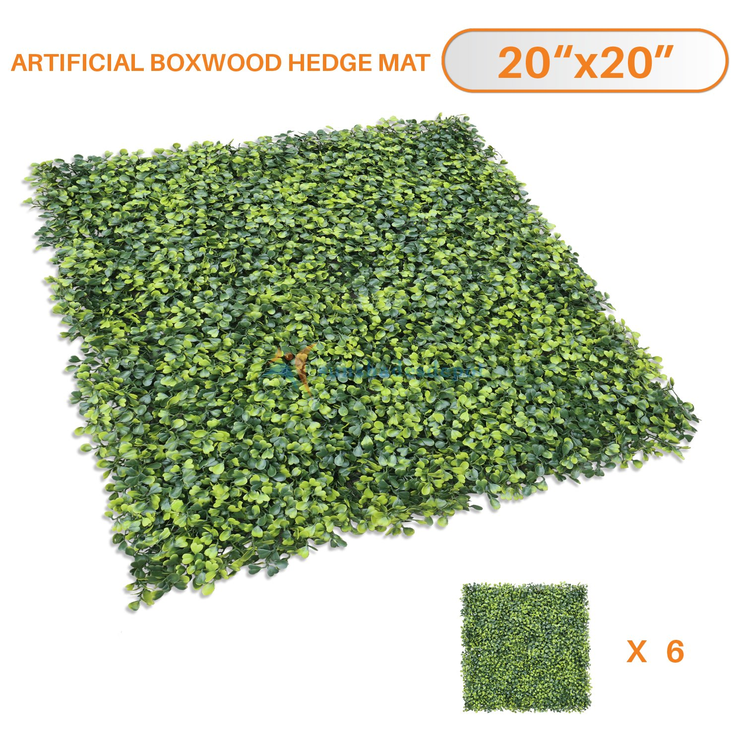 Sunshades Depot Artificial Boxwood Milan Leaf Grass Fence Privacy Screen Evergreen Hedge Panels Fake Plant Wall 20''X20'' inch (6pcs)