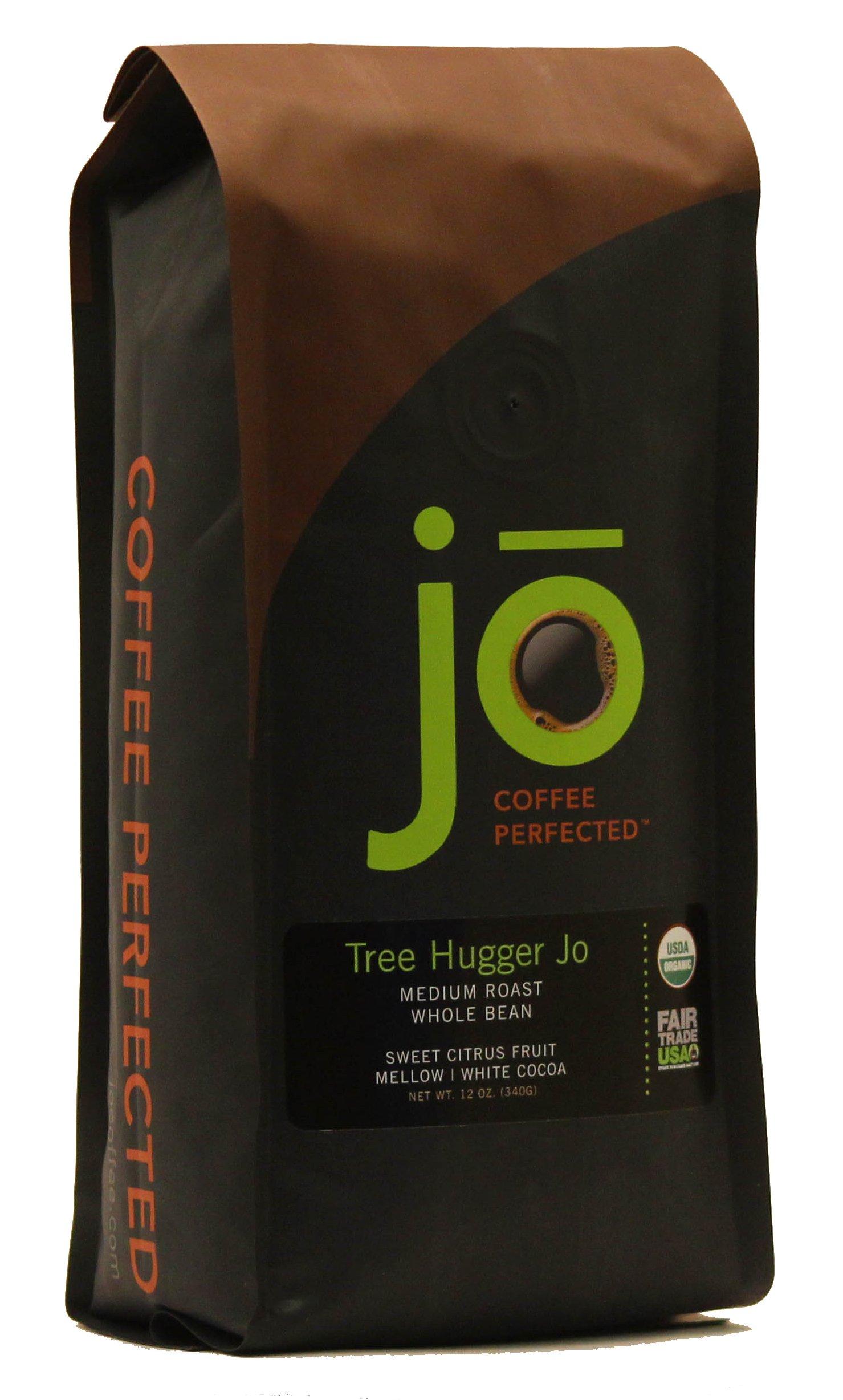 TREE HUGGER JO: 12 oz, Organic Central American Rainforest Whole Bean Coffee, Fair Trade Certified, Medium Roast, USDA Certified Organic, 100% Arabica Coffee, NON-GMO
