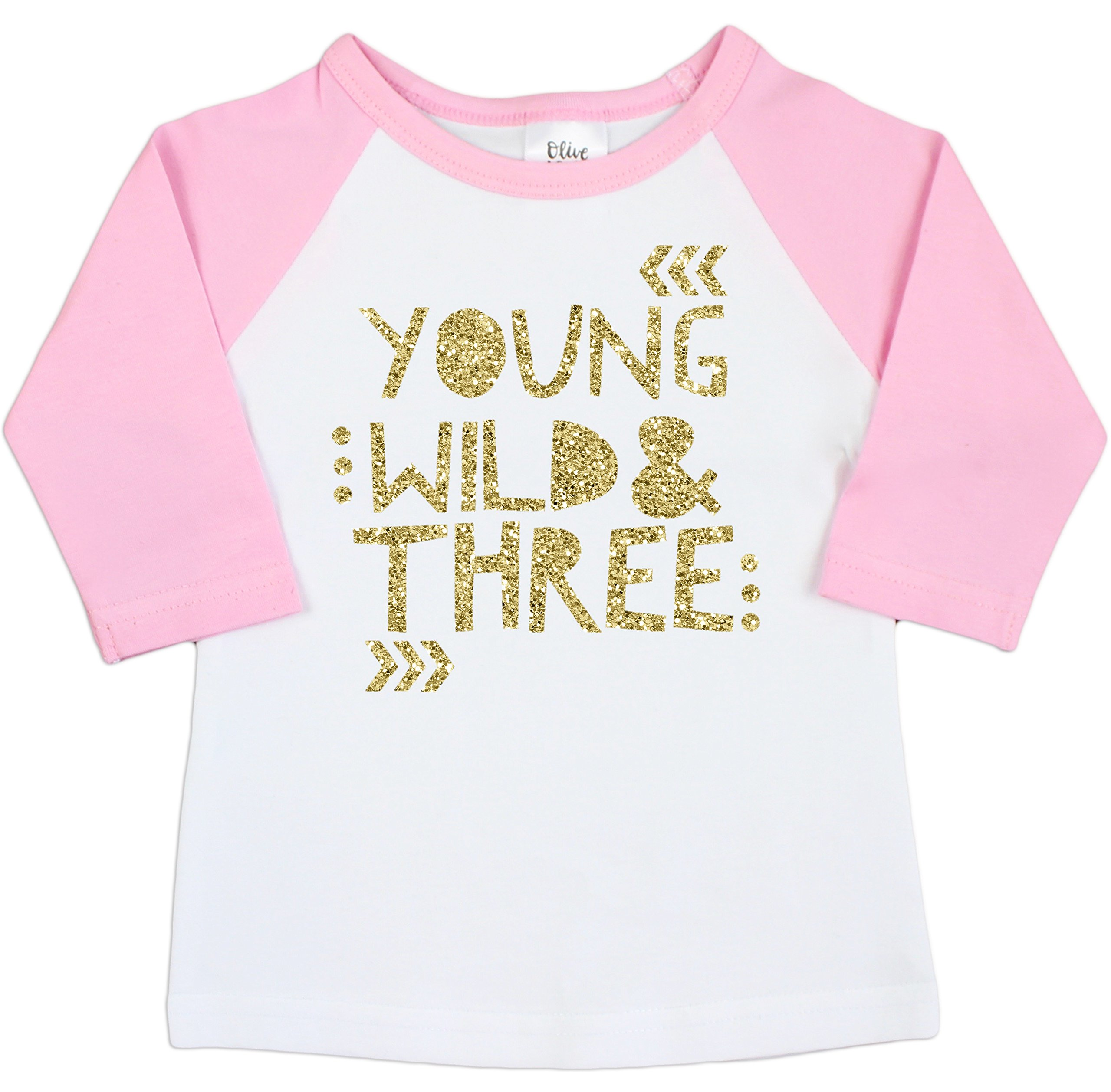 3rd Birthday Shirt for Girls Young Wild & Three Pink Raglan 3/4 sleeve,3T,Pink