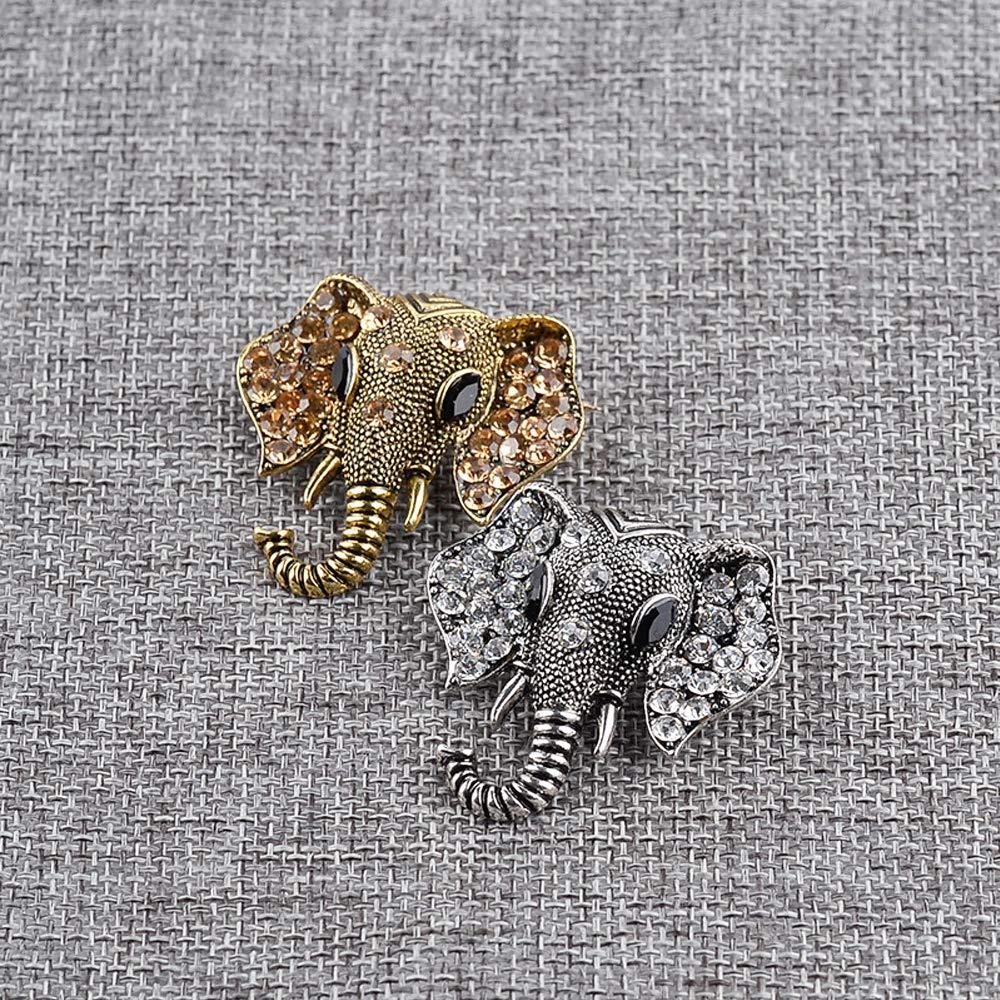 CAILI 2 Juegos de Broche de Elefante Bronce + Plata Antigua Delicado Broche Vintage Diamante Broche de Aleaci/ón Decoraciones Ni/ñas