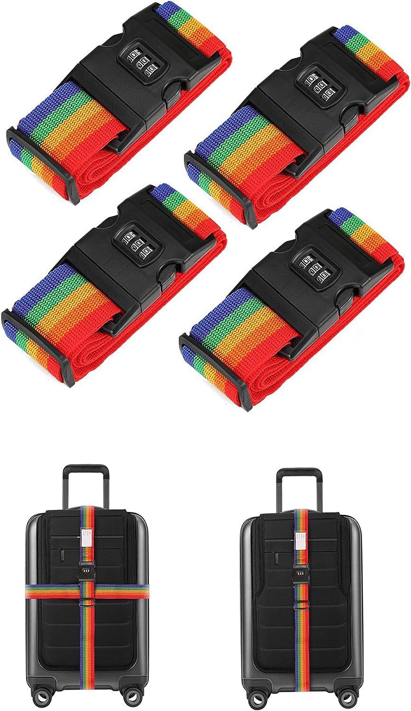 Paquete de 4 correas de equipaje ajustables Cinturones de maleta Accesorios de viaje Correas de bolsa con cerradura de combinaci/ón de 3 esferas