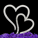 LOVENJOY Gift Box Pack Two Double Hearts Become One Love Wedding Engagement Rhinestone Crystal Decoration Cake