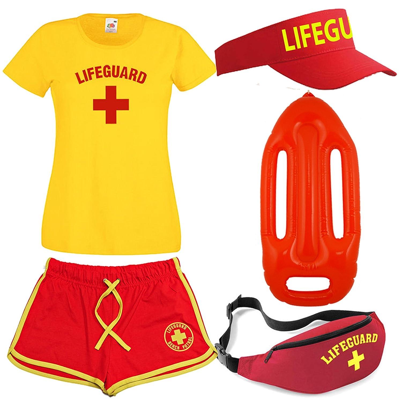 Ladies Lifeguard Camiseta Pantalones Cortos - Riñonera, Sol Visera y Flotador 5 Piezas: Amazon.es: Ropa y accesorios